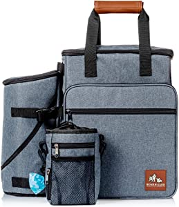 Dog Travel Bag - Backback Travel Kit for Pet Gear Includes Collapsible Food and Water Bowls, Flying Disc and Treat Pouch - Best for Organizing Dog Supplies for Easy Travel