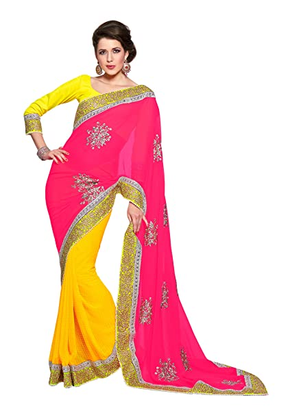 ac5e210572 Fabdeal Indian Designer Chiffon & Georgette Pink Embroidered Saree Sari  Sarees: Amazon.co.uk: Clothing