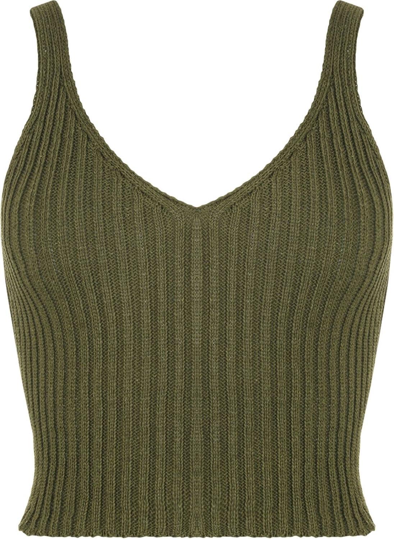 Ladies Crochet Knitted Crop Top Summer Bra Bralet Womens Deep V Neck