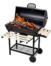 SunJas Barbecue/Griglia a Carbone BBQ Grill Carrello, Palla con Regolazione della Temperatura, Grill 2 Ruote, Nero