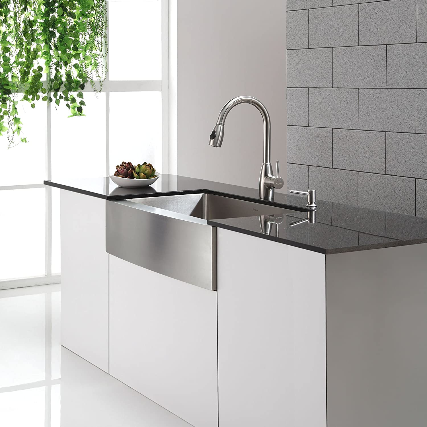 Kraus KPF-2130 Single Lever Stainless Steel Pull Out Kitchen Faucet ...