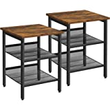 VASAGLE Nightstand, Set of 2 Side Tables, End Tables with Adjustable Mesh Shelves, for Living Room, Bedroom, Industrial, Stab