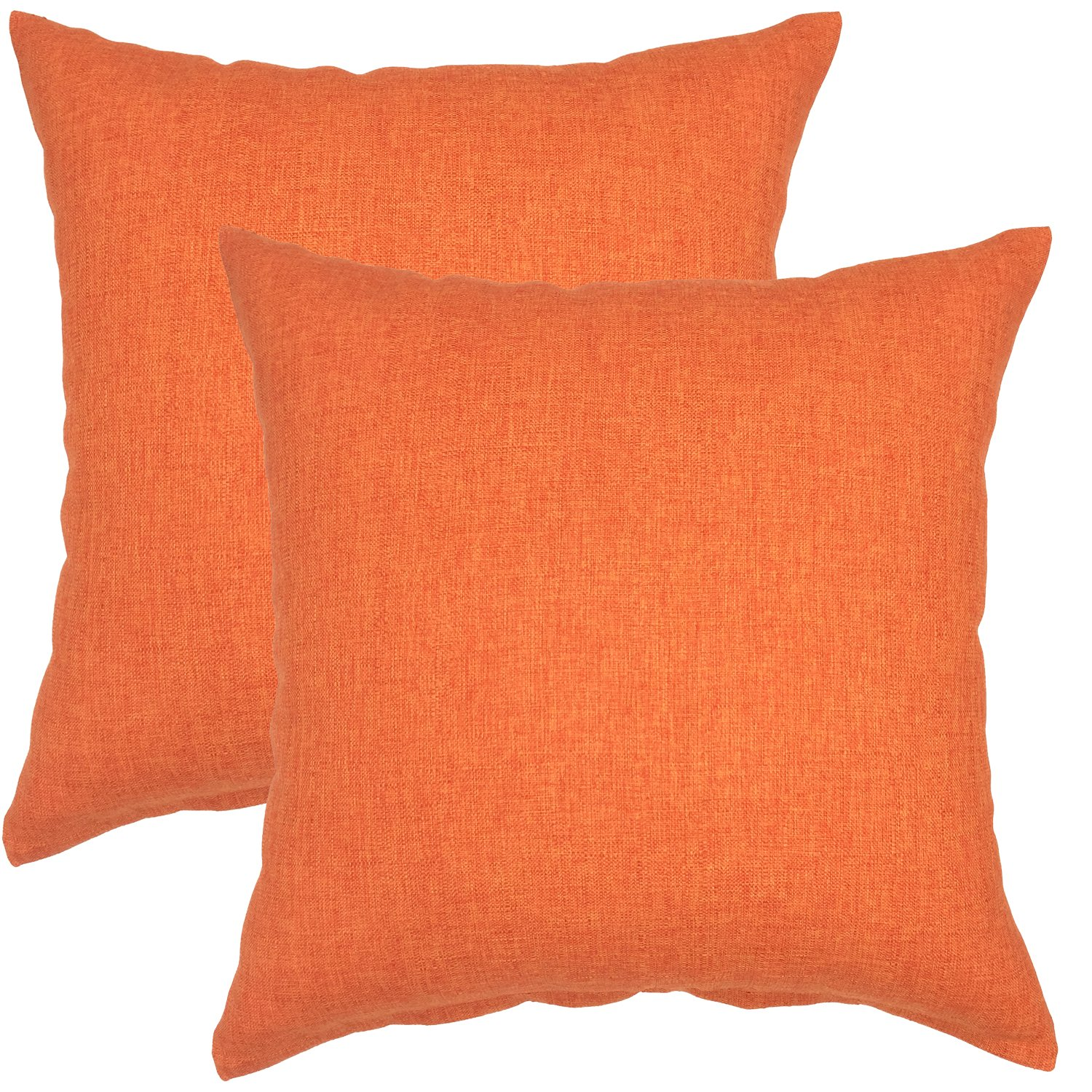 YOUR SMILE Pure Square Decorative Throw Pillows Case Cushion Covers Shell Cotton Linen Blend 18 X 18 Inches , Pack of 2 (Orange) by YOUR SMILE