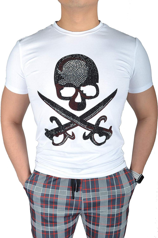 Camiseta Manga Corta Blanca Pedrería Piratas del Caribe para Hombre (M): Amazon.es: Ropa y accesorios