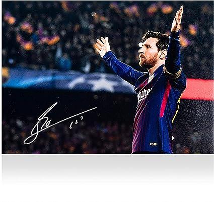 c66761c4887 Lionel Messi Barcelona Autographed 12 quot  x 18 quot  100th UEFA Champions  League Goal Photograph -
