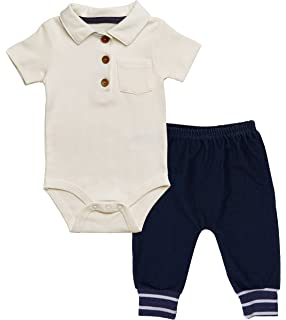 ba6e4b435044 Asher and Olivia Baby Boy Polo Onesie Outfit - Infant Bodysuit Denim Harem  Pants – Short