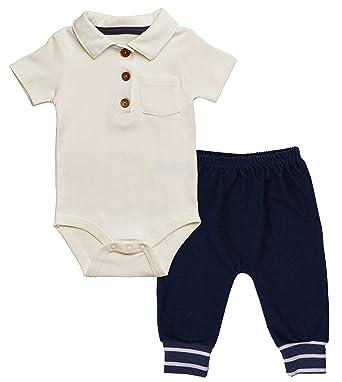 d9bd32235af Asher and Olivia Baby Boy Polo Onesie Outfit - Infant Bodysuit Denim Harem  Pants – Short