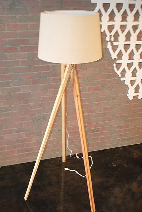 Venta. Hecho a mano - lámpara de pie con trípode de madera ...