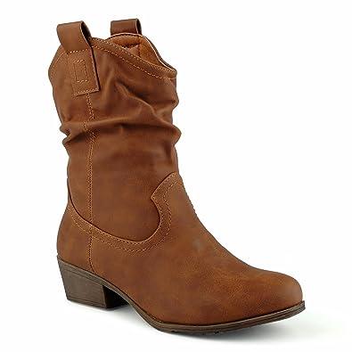 a34ab6dc57d95a Fusskleidung Damen Cowboystiefel Schlupfstielfe Boots Biker Stiefeletten  Warm Gefüttert Winterstiefel Blockabsatz Stiefel Schuhe Kamel EU 41