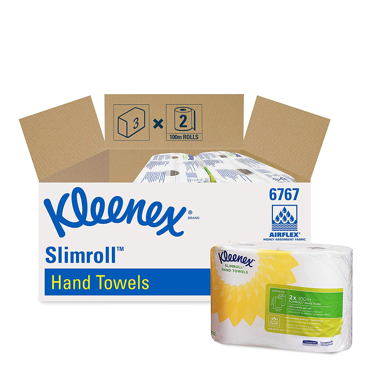 2 Rolls x 100m White Kleenex 6767 Slimroll Hand Towels 1 Ply