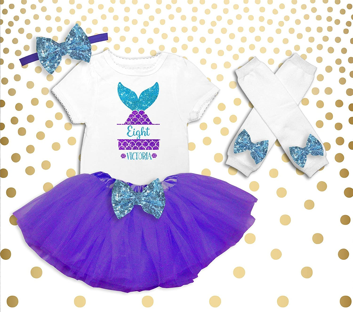 Girls 8th Birthday Outfit Mermaid Shirt