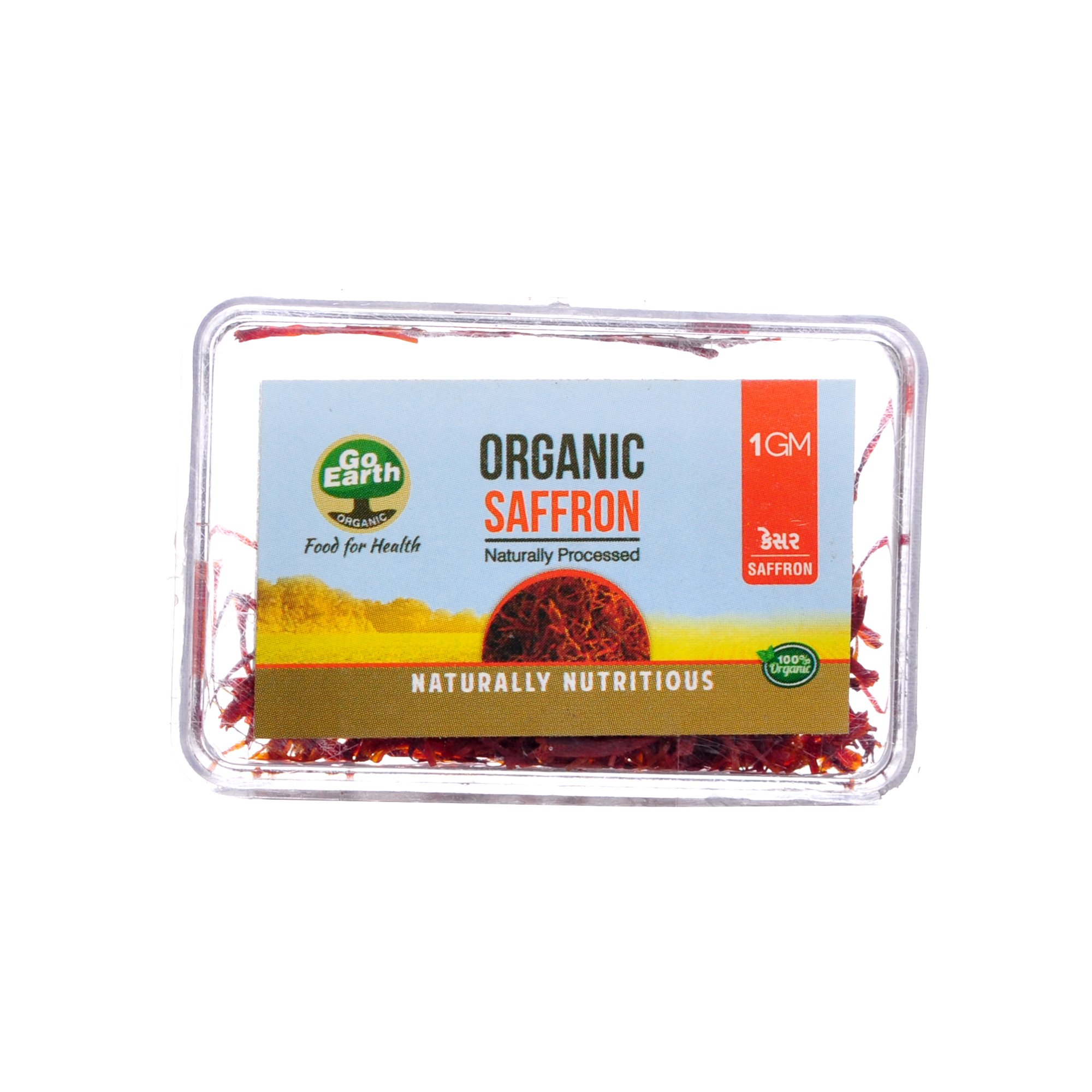 Go Earth Organic Saffron (Kesar ) Naturally Processed 1g