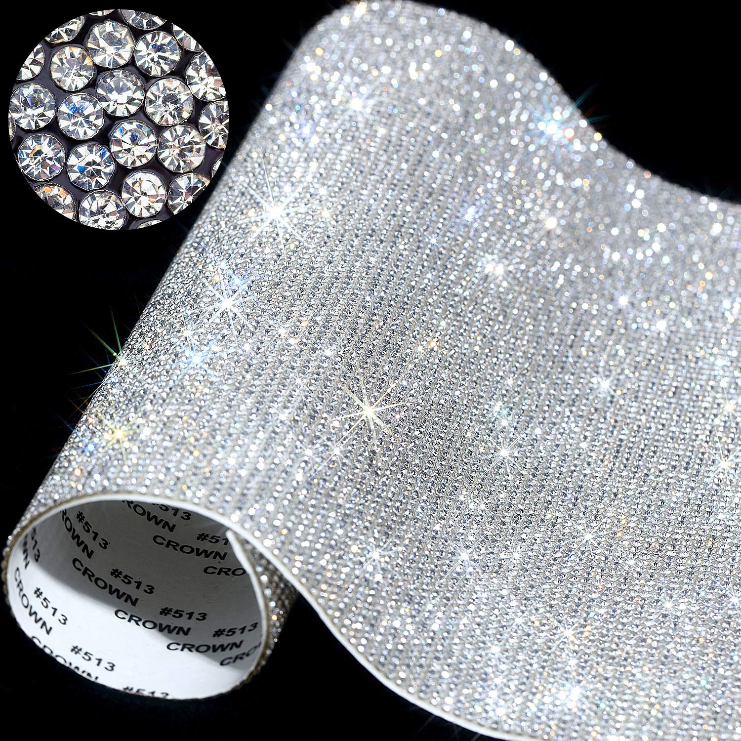 Black DXDECOR 9.4in X 15.7in Bling Crystal Rhinestone DIY Decoration Sticker,Self Adhesive Crystal Sheet with 2mm Rhinestones