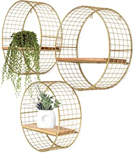Set 3 Gold Round Floating Shelves, Circular Wall Shelves as Boho Bathroom, Living Room, Kitchen & Bedroom Decor, Brass Hanging Art, Metal Wire Mesh Sconce Shelf, Circle Accent Display