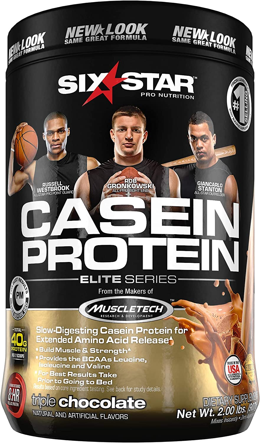 Six Star Elite Series Casein Protein Powder, Slow-Digesting Micellar Casein Protein for Extended Amino Acids Release,Triple Chocolate, 26 Servings (2lbs)(packaging may vary)