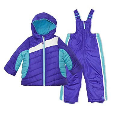 a4456e47236f Arctic Quest Infant   Toddler Girls Puffer Ski Jacket and Snowbib Snowsuit  Set