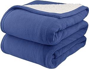 Biddeford 2063-9052140-500 MicroPlush Sherpa Electric Heated Blanket Queen Denim