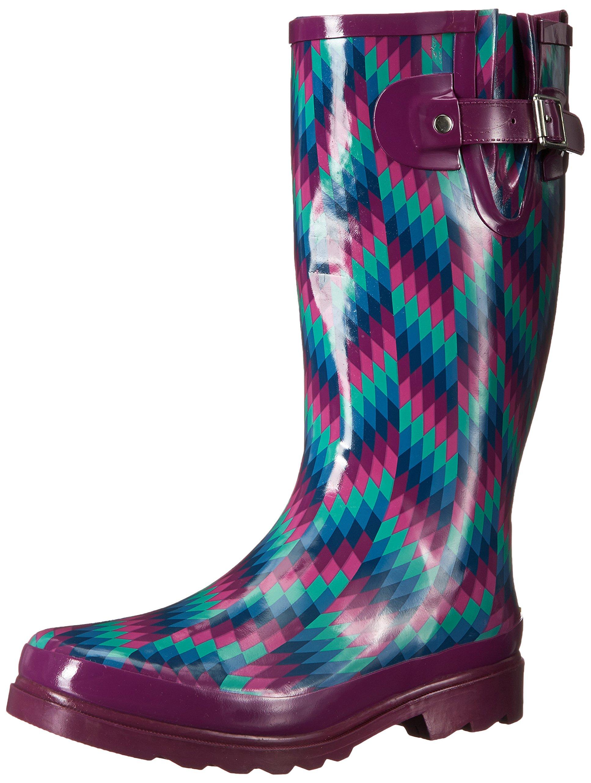 Western Chief Women's Printed Tall Rain Boot, Aztec Zigzag, 9 M US