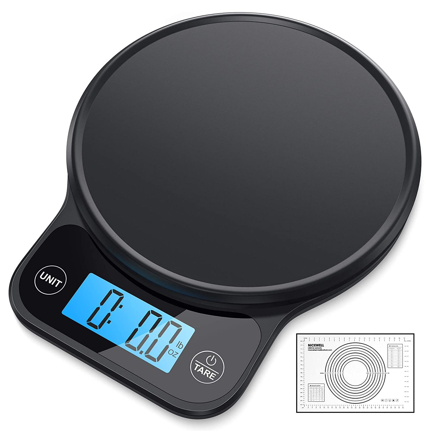 Nicewell Kitchen Scale, with Pastry Mat, Highly Accurate Digital Food Scale 13 lbs 6kgs Max, Clean Modern Black Finish. Includes Batteries