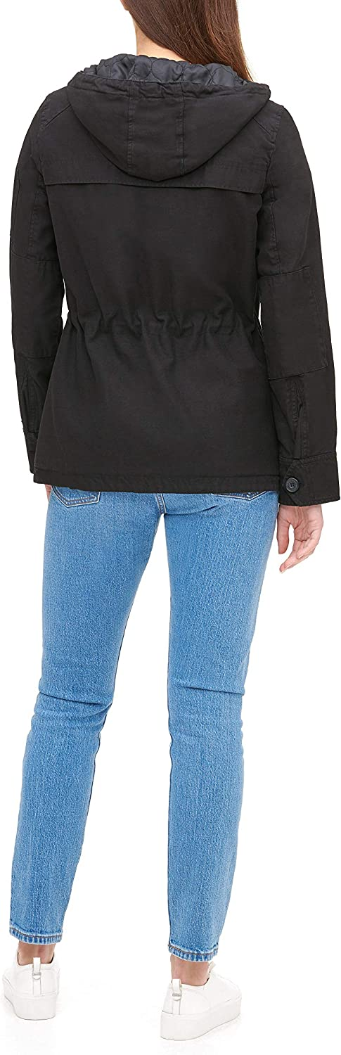 Levi's womensLW5RC337Cotton Four Pocket Hooded Field Jacket Long Sleeve Anorak Black