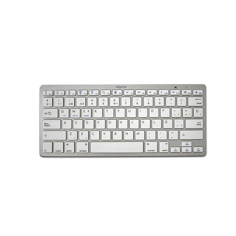 Approx APPKBBT02S - Teclado Universal Bluetooth 3.0, Color Plateado y Blanco: Approx: Amazon.es: Informática