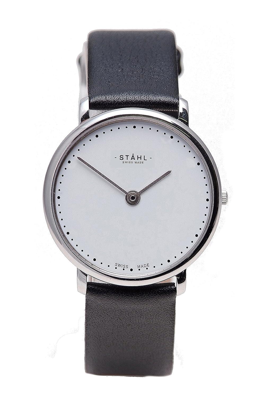 Stahl Swiss Made Armbanduhr Modell: st61479 – Edelstahl – Extra große 36 mm Fall – Arabisch und Bar weiß Zifferblatt