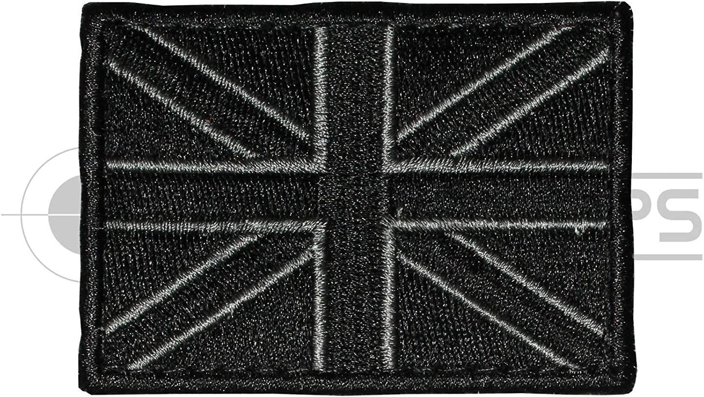 Black Union Jack Poppy Embroidered Sew on velcr0 patch