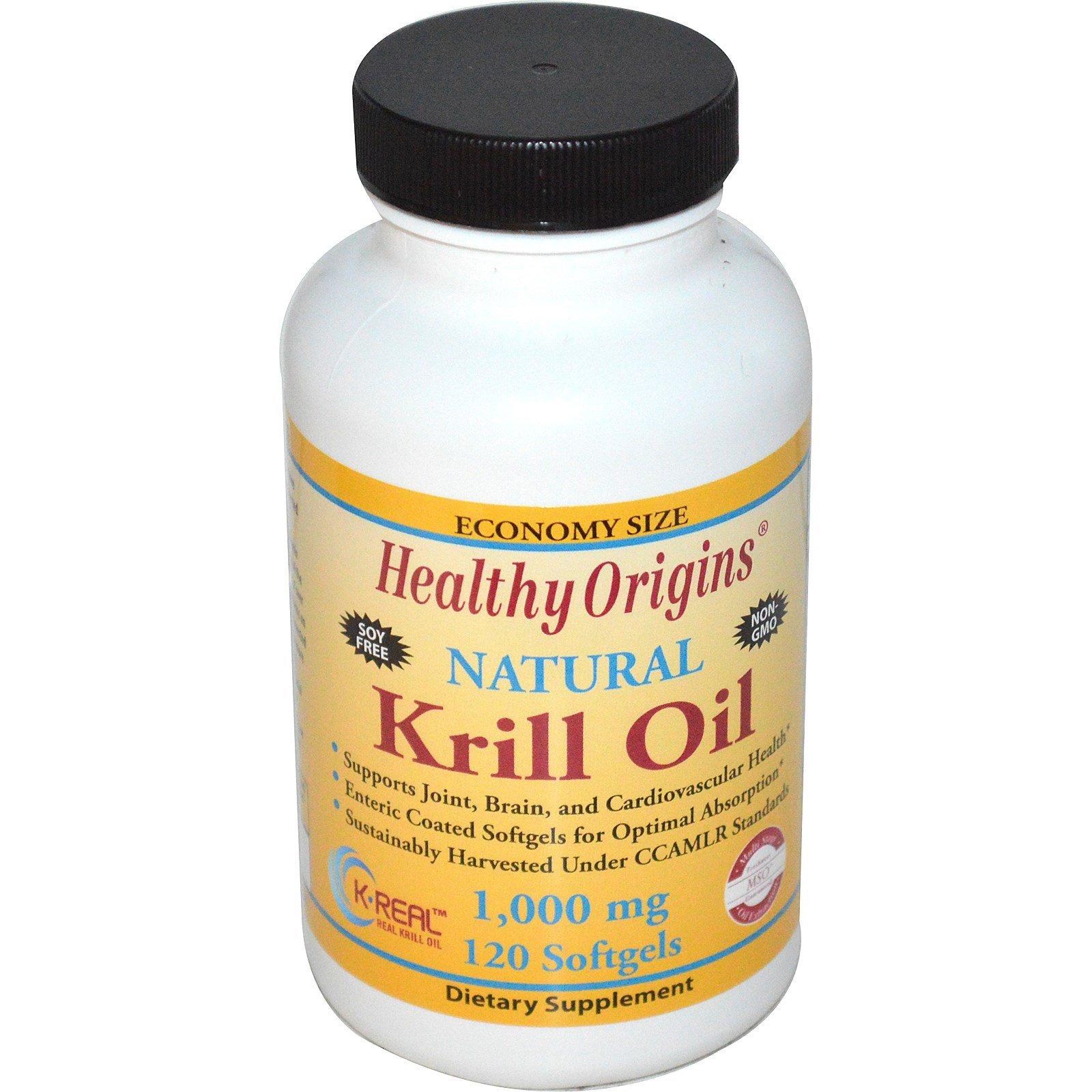 Healthy Origins, Krill Oil, Natural Vanilla Flavor, 1,000 mg, 120 Softgels - 2pc