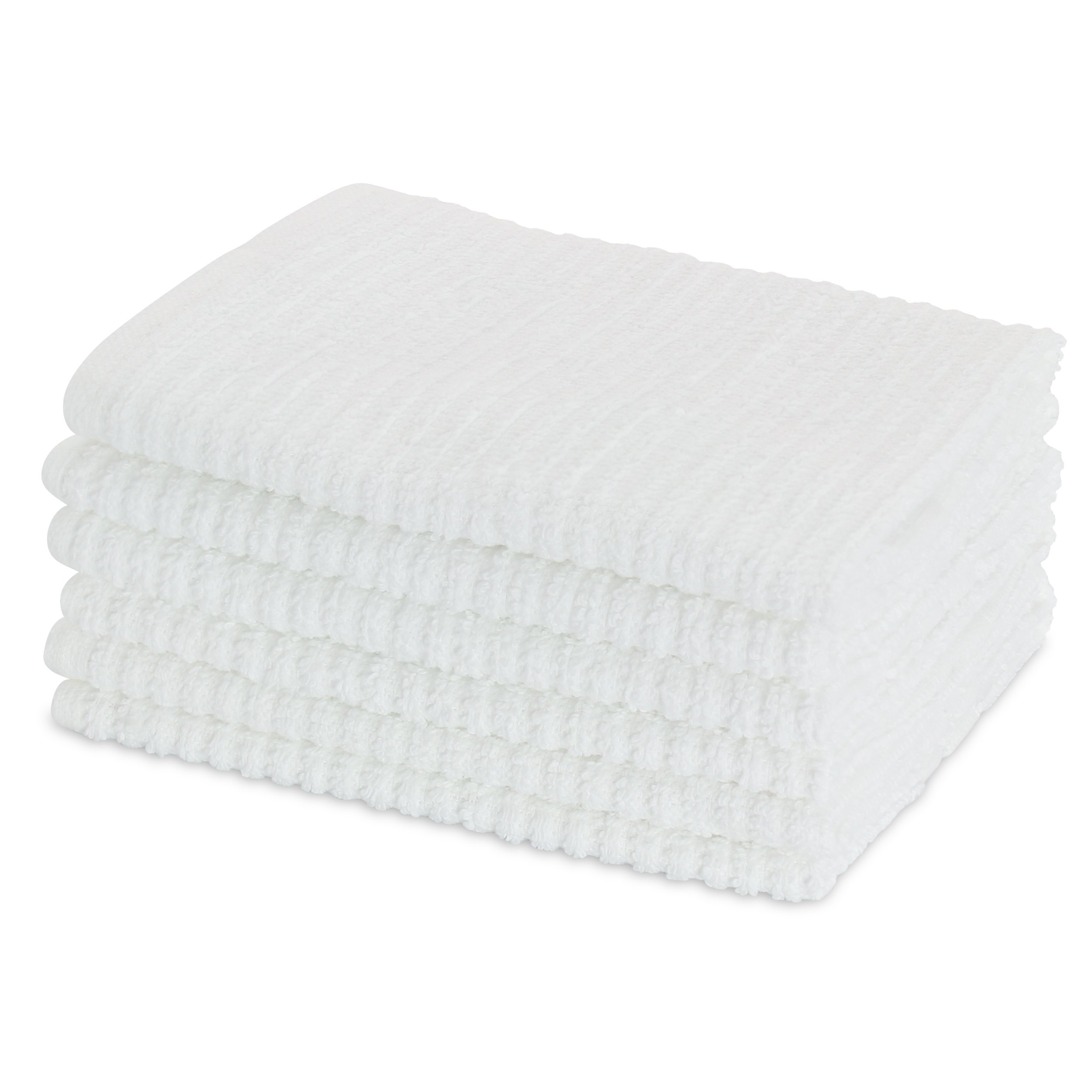 HomeCrate All Purpose Heavy Weight Bar Mop Dish Cloths, Super Absorbent 100% Cotton - 12'' x 12'', Set of 6, White