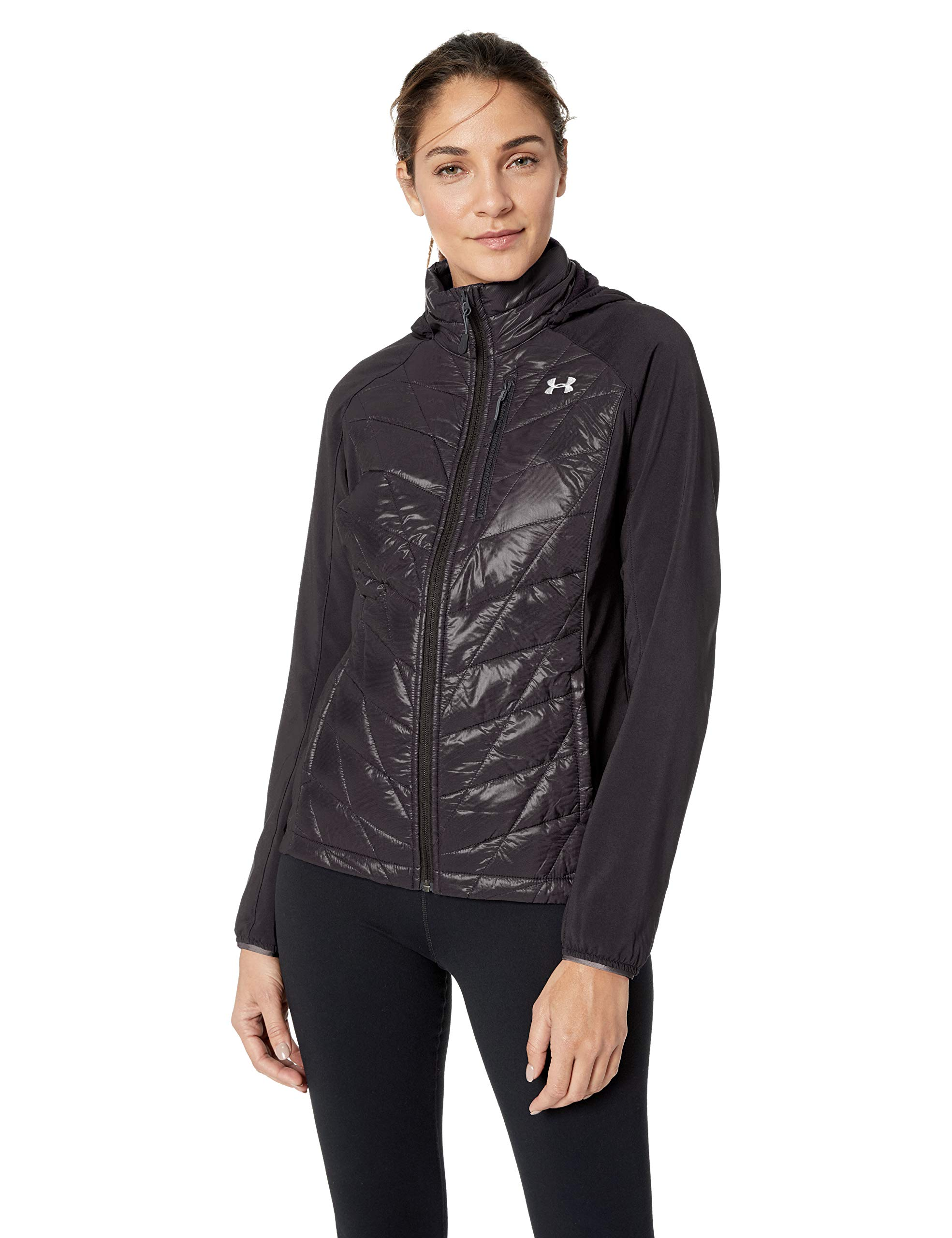 Under Armour Women's Hybrid Hooded Fleece Jacket, X-Small, Rednasty