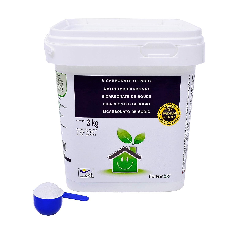 NortemBio Bicarbonate of Soda 3kg, Ecologic Input of Natural Origin, Aluminium-free, Premium Quality. Sodium Bicarbonate. Developed in UK. Nortem Biotechnology