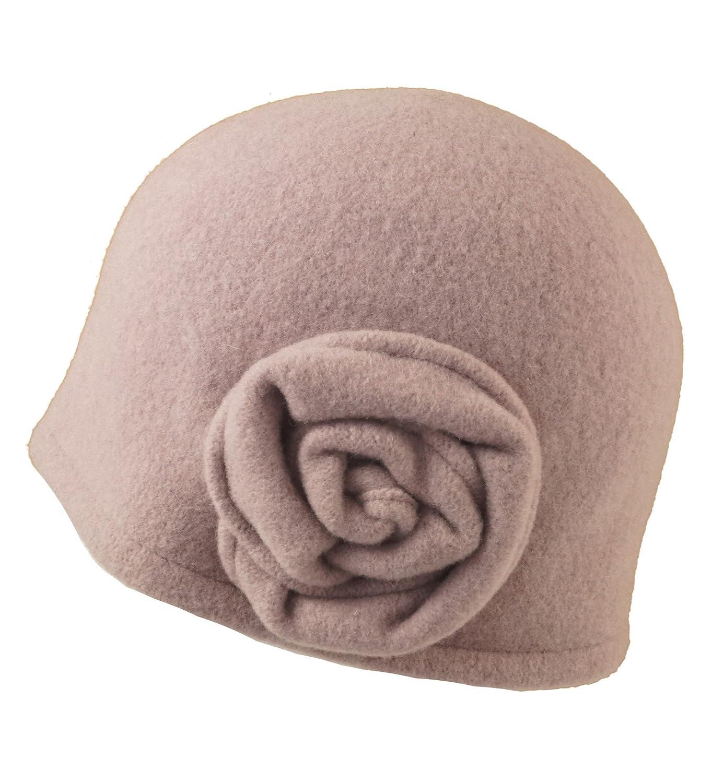 Seeberger Damen Walkmütze mit Rosette 100/% Schurwolle Wollmütze Wintermütze