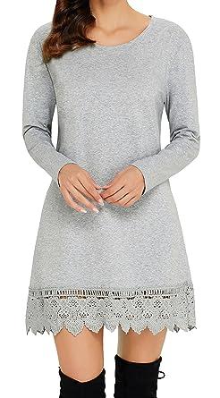 27abdeb638b Angerella Femme Tunique Robe à Manche Longue Tops en Dentelle Mini Robes (Gris