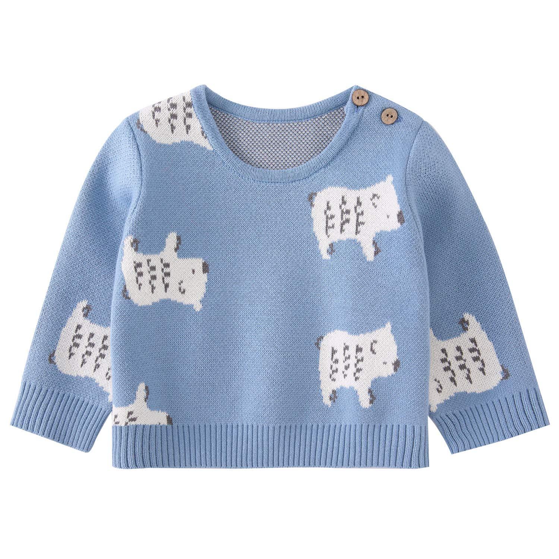 pureborn Infant Baby Boys Cartoon Bear Cotton Knit Pullover Sweater Blue 3-6 Months by pureborn