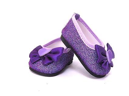 6334d9dd32582 Amazon.com: Cute Purple Stylish Glitter Slip on Shoes with Heart Bow ...