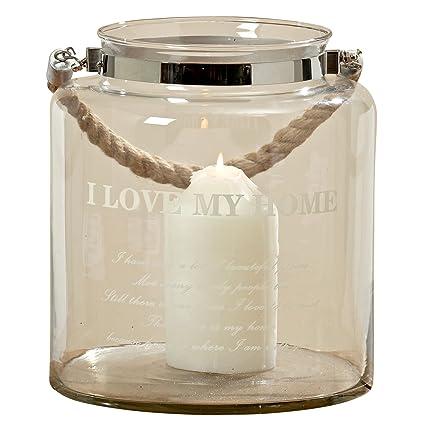 La cuerda náutica de I Love My Home huracán lámpara, cristal transparente, asa de cuerda, vela ...