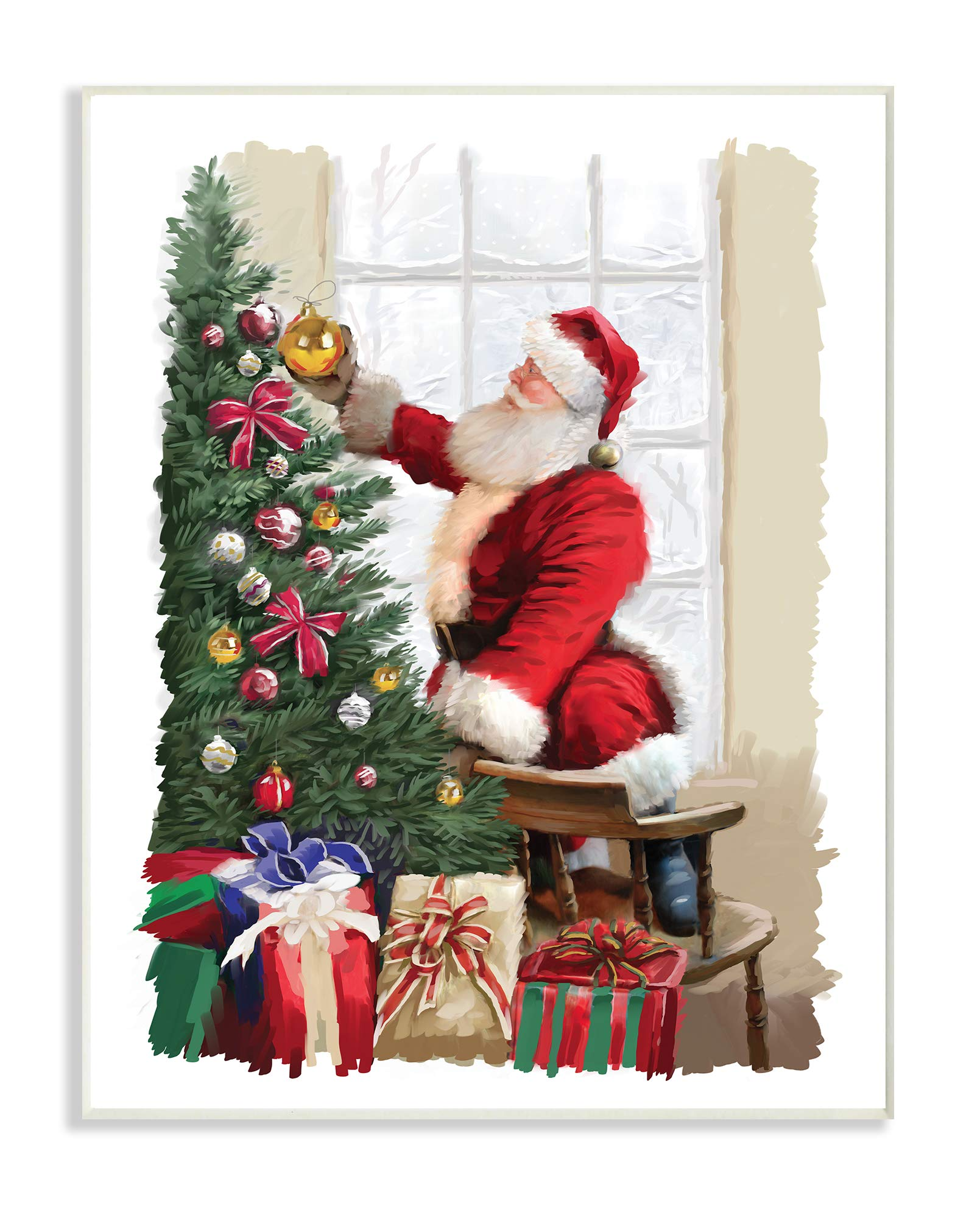 The Stupell Home Décor Collection Holiday Santa Decorating Christmas Tree with Gifts Painting Wall Plaque Art, Multi-Color
