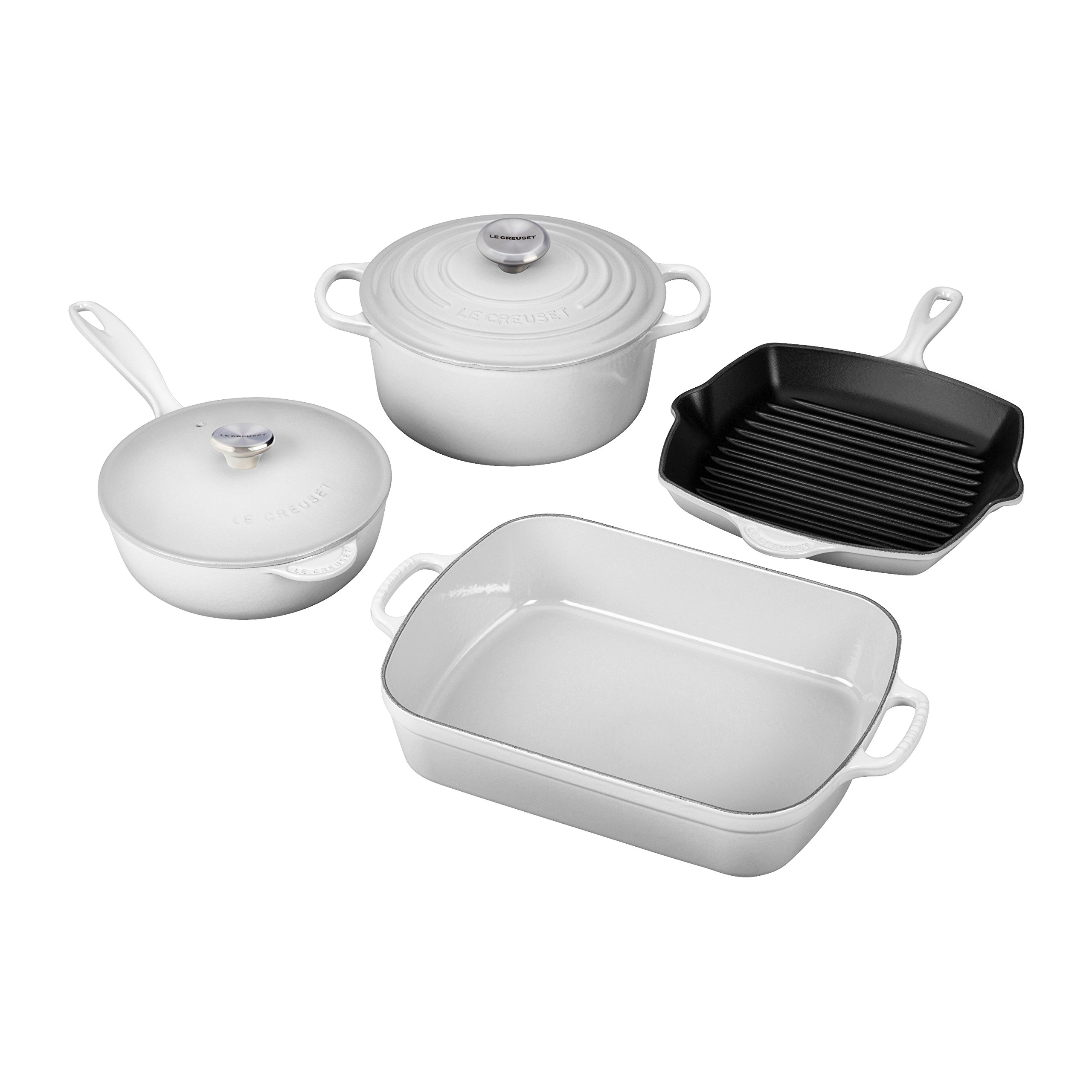 Le Creuset MS1406-16SS Enameled Cast Iron 6 Piece Signature Set, White