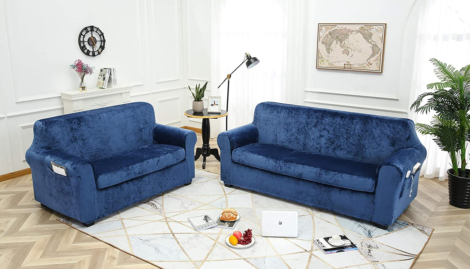 Stylish Luxury Furniture Covers with Utility Pockets (Sofa, Aegean Blue)