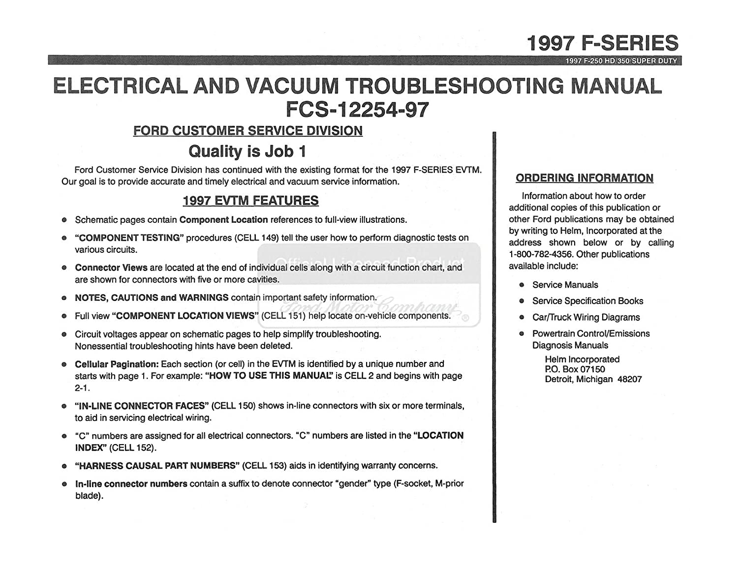 Bishko Automotive Literature 1997 Ford F250 Hd F350 F Looking For A Wiring Diagram 97 Super Duty Electrical Vacuum Troubleshooting Manual