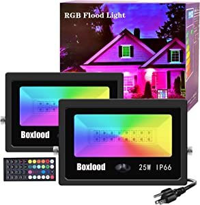 Boxlood 25W RGB LED Flood Lights Outdoor Indoor Color Changing Floodlights Dimmable Timing Remote Control IP66 Waterproof Halloween Christmas Party Garden Stage Decoration Landscape Spotlights 2Pack