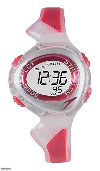 Speedo active swim - Reloj digital infantil de cuarzo con correa de goma roja (cronómetro, luz, alarma, cuenta vueltas) - sumergible a 50 metros: Amazon.es: ...