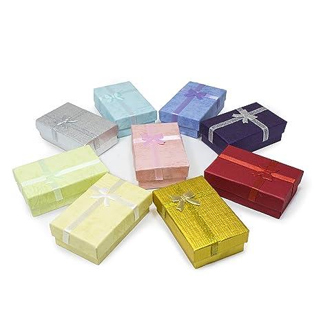 TRIXES 12 PC Cajas de Regalo Rectangulares Elegantes con Cinta y Lazo - para Presentación de