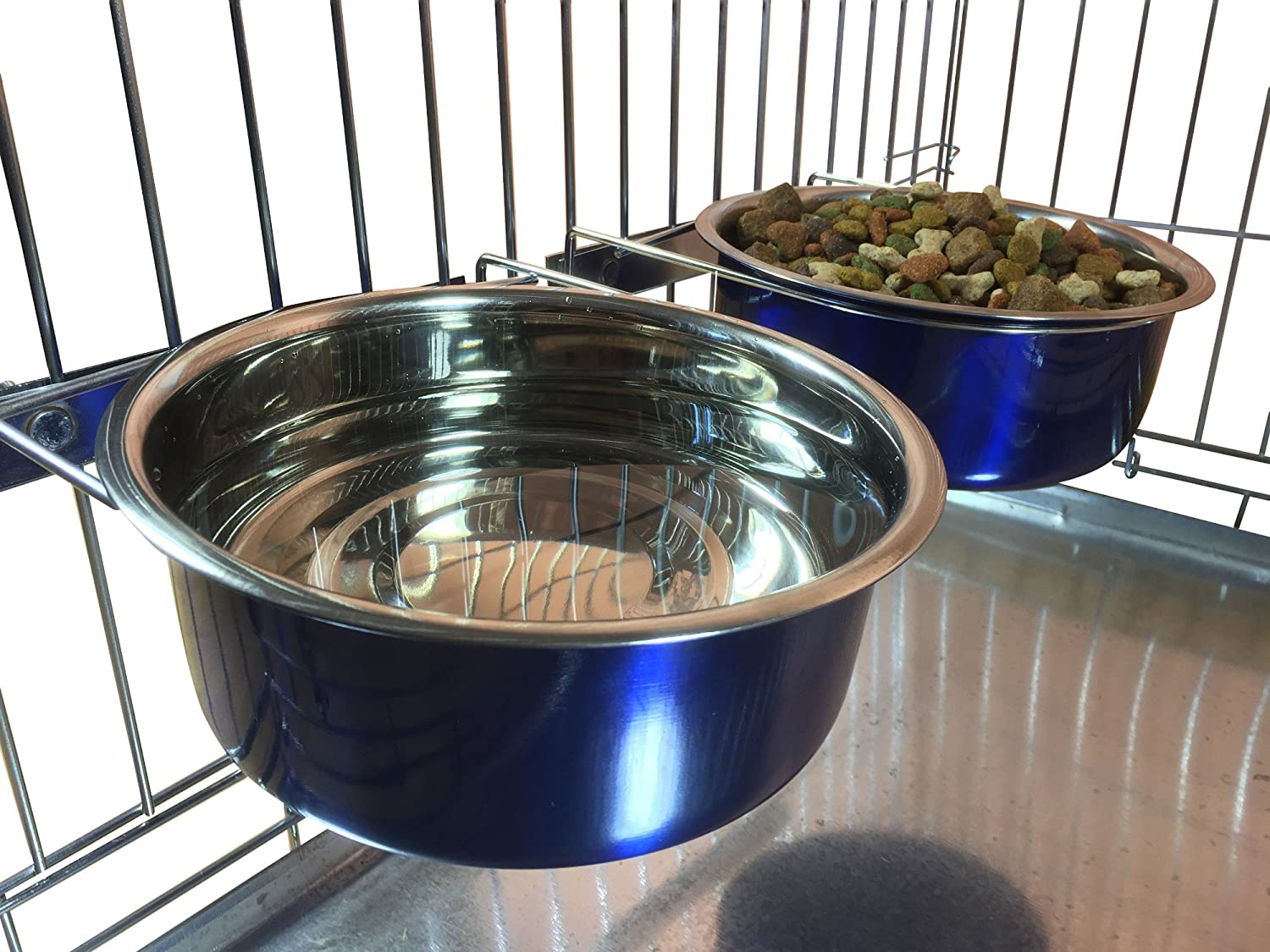 0.6 Litre Ellie-Bo Pair of Dog Bowls for Crates//Cages or Pens Small Red
