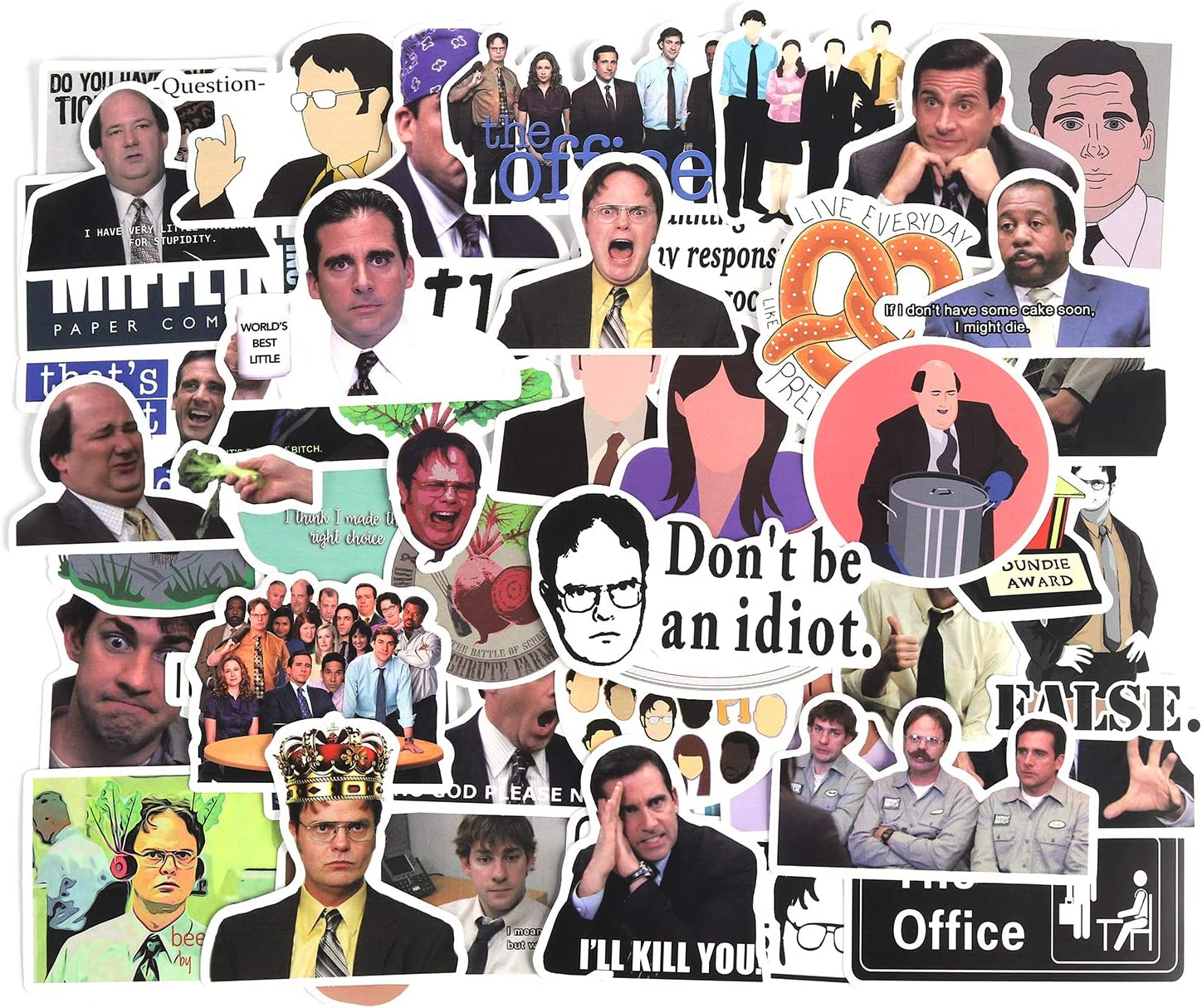 WINCANG The Office Sticker Pack of 50 Stickers - The Office Laptop Waterproof Stickers,Trendy Vinyl Laptop Stickers, Funny Stickers for Laptops,Water Bottles, Computers, Hydro Flasks,Travel Case