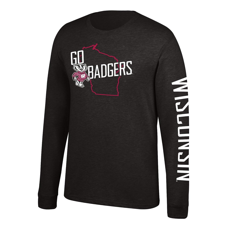 Black J America NCAA Mens Wisconsin Badgers Classic Heather Long Sleeve Tee Small
