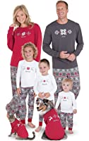 PajamaGram Holiday Nordic Matching Family Pajamas, Red/Gray