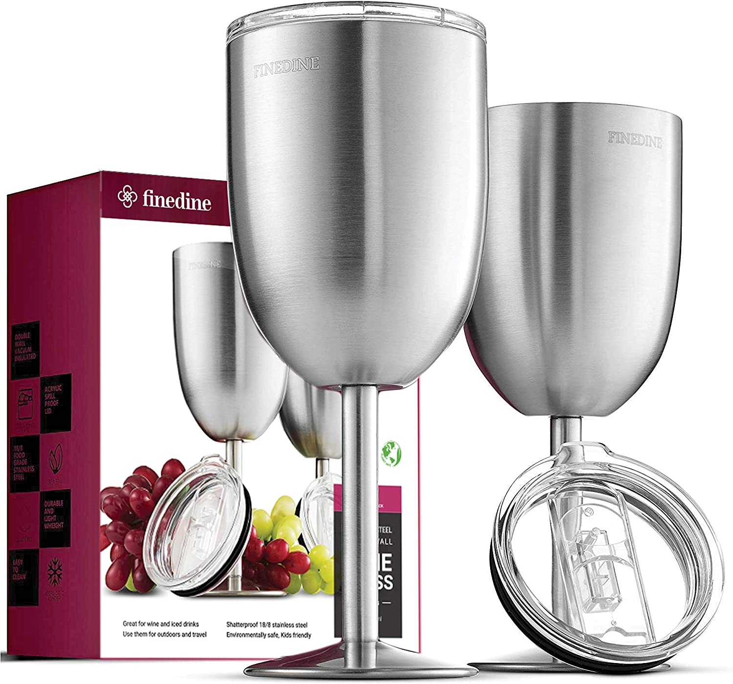 Amazon Com Finedine Premium Grade 18 8 Stainless Steel Wine Glasses 12 Oz Double Walled Insulated Unbreakable Goblets Set Of 2 Stemmed Wine Glass Bpa Free Leak Resistant Lid For Red White Wine Brushed Metal Wine Glasses