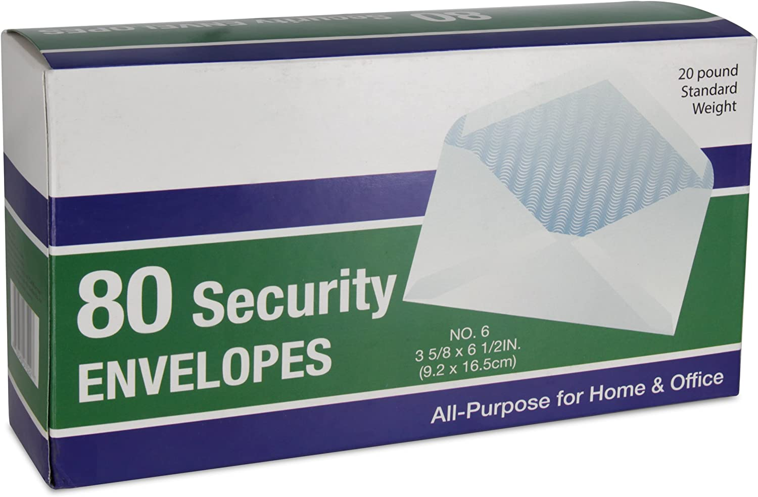 Emraw White All-Purpose Security Envelopes #6-3/4 Personal & Professional Size 3-5/8 x 6-1/2 Inch - 80/Box - for Office & Home Use