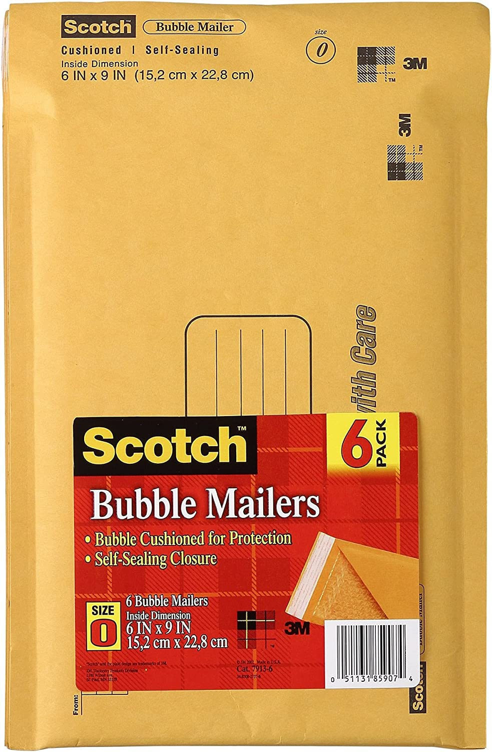 "500 #0 6/"" X 9/"" Our Brand Kraft Self Seal Bubble Mailers"